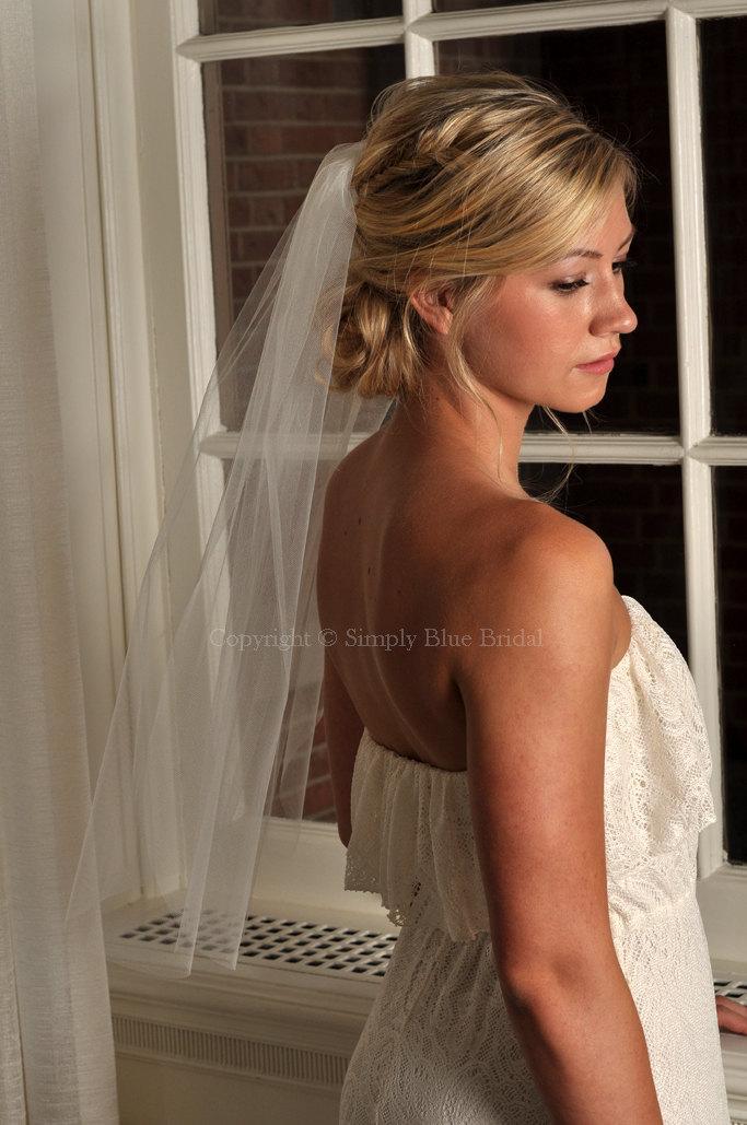 "Свадьба - Veil - Standard Elbow Length Veil with Raw Cut Edge, 72"" Wide Bridal Veil - READY TO SHIP - Ivory"