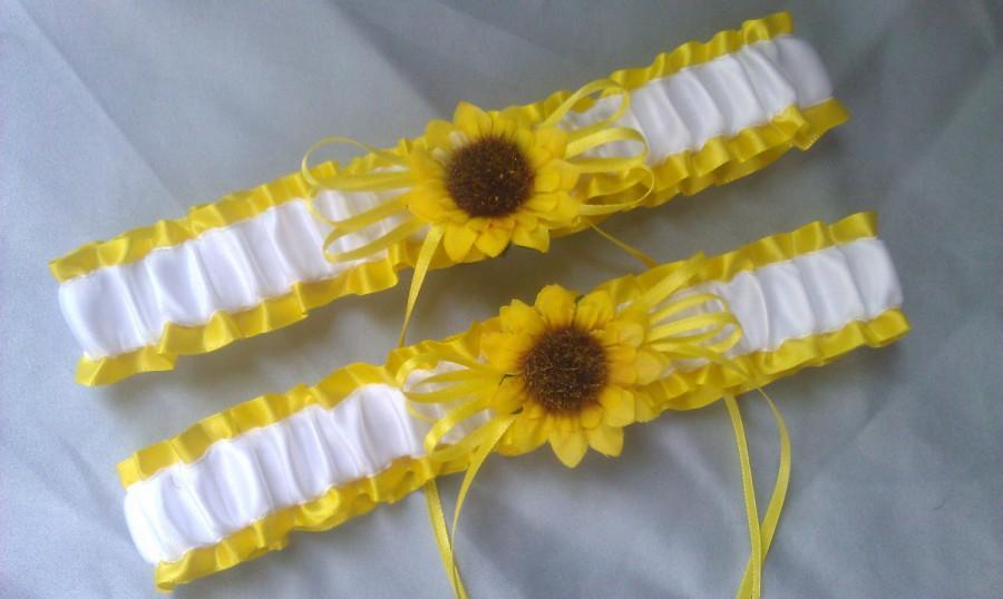 Mariage - Sunflower Bridal Garter Set Sunshine Yellow White Wedding Garter