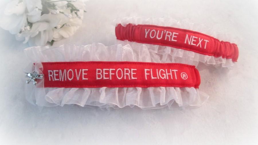 Mariage - Remove Before Flight® Garter Set - Pilot Garter set - Air Force Wedding Garter set - You're Next Garter - Aviation Garters.