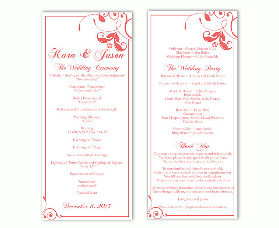 Mariage - Wedding Program Template DIY Editable Text Word File Instant Download Program Red Program Floral Program Printable Wedding Program 4x9.25