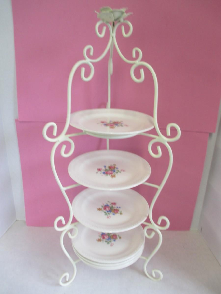 Vintage 4 Tiered White Enameled Wire Wedding Plate Holder With 7 Plates 6 1 2 Crown Potteries Co 2497566 Weddbook
