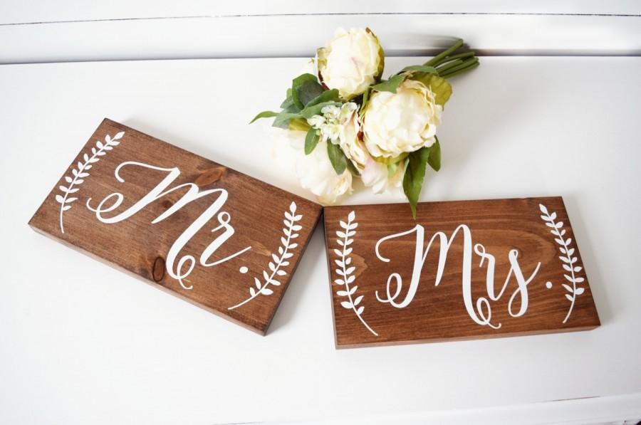 Mr And Mrs Chair Signs Wedding Sign Photo Prop Rustic Decor Table Wood Laurel