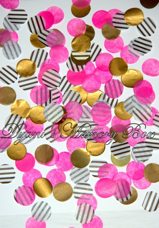 Paris Stripes Black Pink And Gold Handmade Tissue Confetti / Pink ...