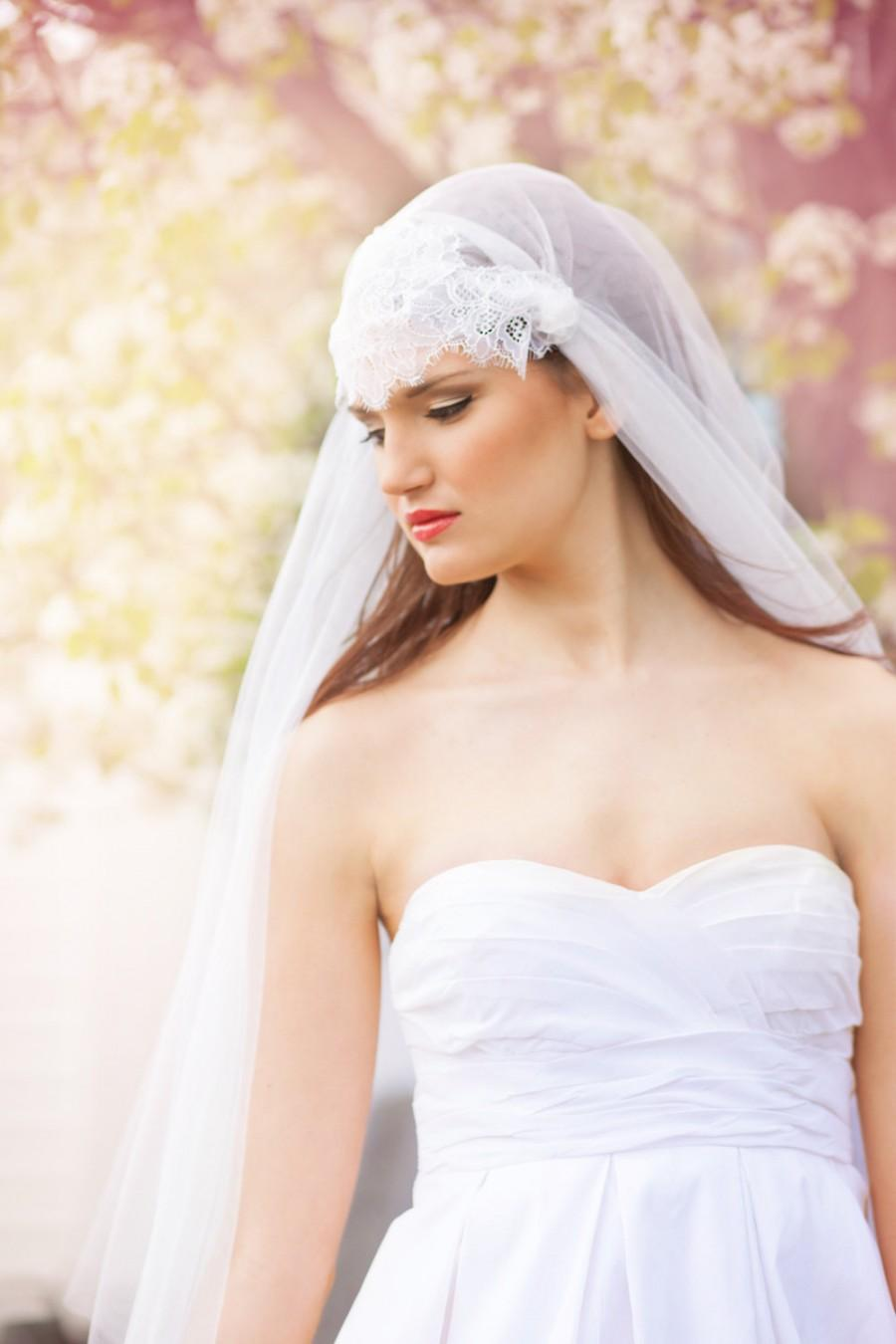 Свадьба - Two Layer Juliet Veil with Chantilly Lace, Blusher Layer - Waltz Veil - Barcelona