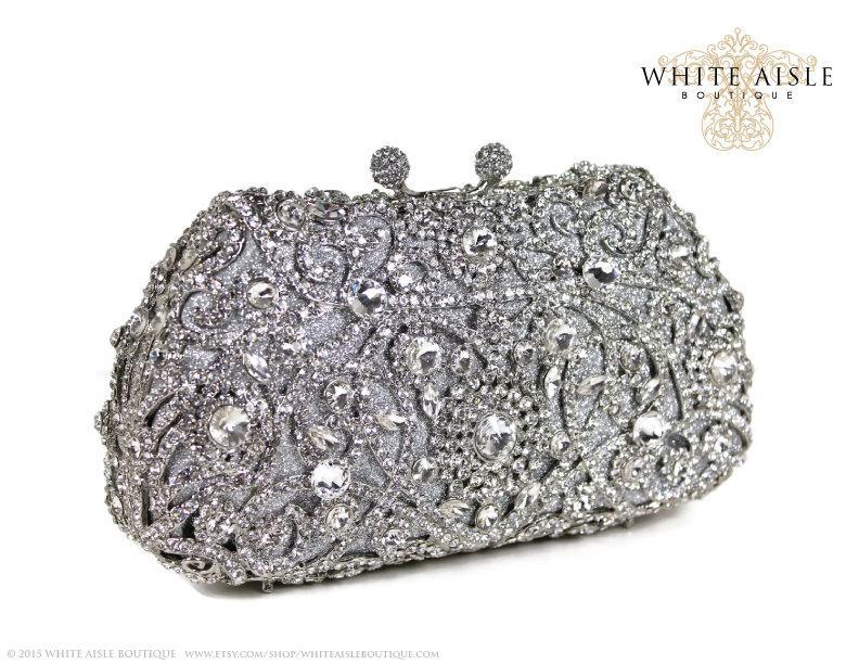 زفاف - Swarovski Crystal Clutch, Bridal Clutch, Silver Minaudiere, Filagree Heart Clutch, Wedding Purse, Evening Bag, Luxury Clutch