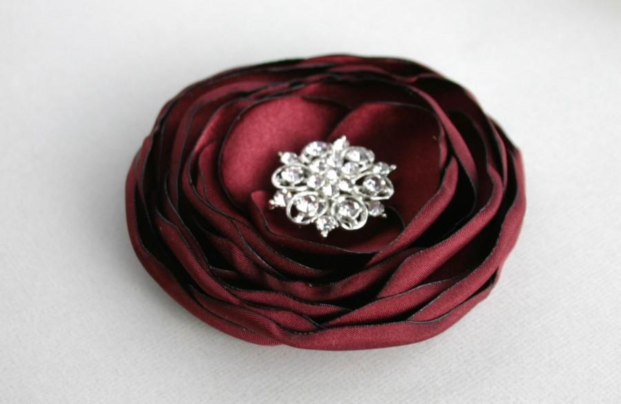 Mariage - Burgundy Flower Hair Clip, Dark Red Hair Flower, Wedding Hair Accessory, Wedding Hair Clip, Burgundy Flower Hair Piece, Bridesmaid Accessory