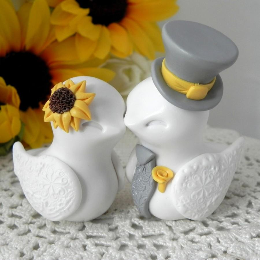 Hochzeit - Love Birds Cake Topper, Wedding, Anniversary Sunflower, White,Yellow, and Grey, Bride and Groom Keepsake, Fully Custom