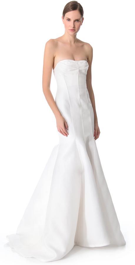 Свадьба - J. Mendel Blanche Strapless Mermaid Gown