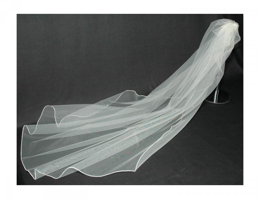 Wedding - Designer Wedding Veil Ivory 1 Single Tier Swarovski Crystal All Over Any Length or Colour LBV144 LBVeils UK