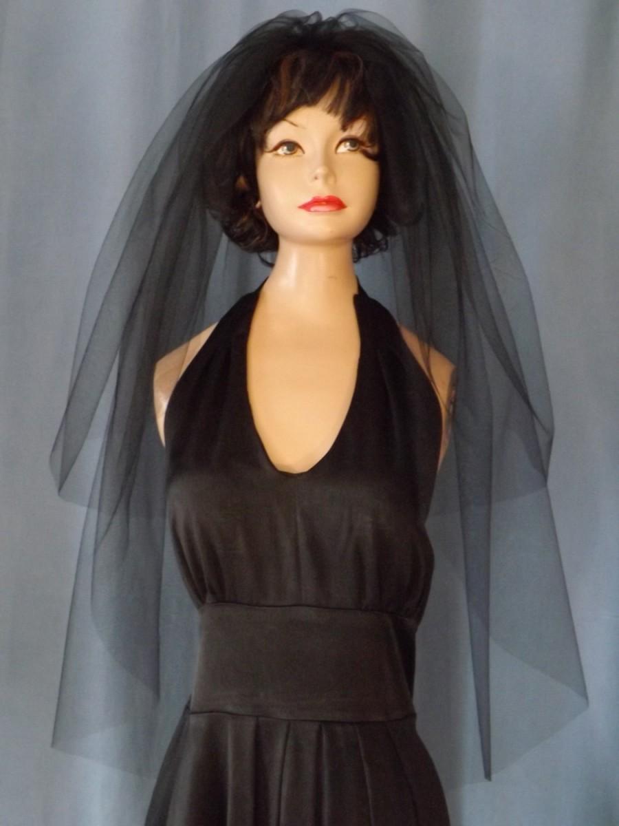Mariage - Fingertip Wedding Veil, Blusher Wedding Veil 30/42 Length - Bridal Veil - Two Tier Fingertip Veil - Plain Veil Raw Edge - Black Wedding Veil