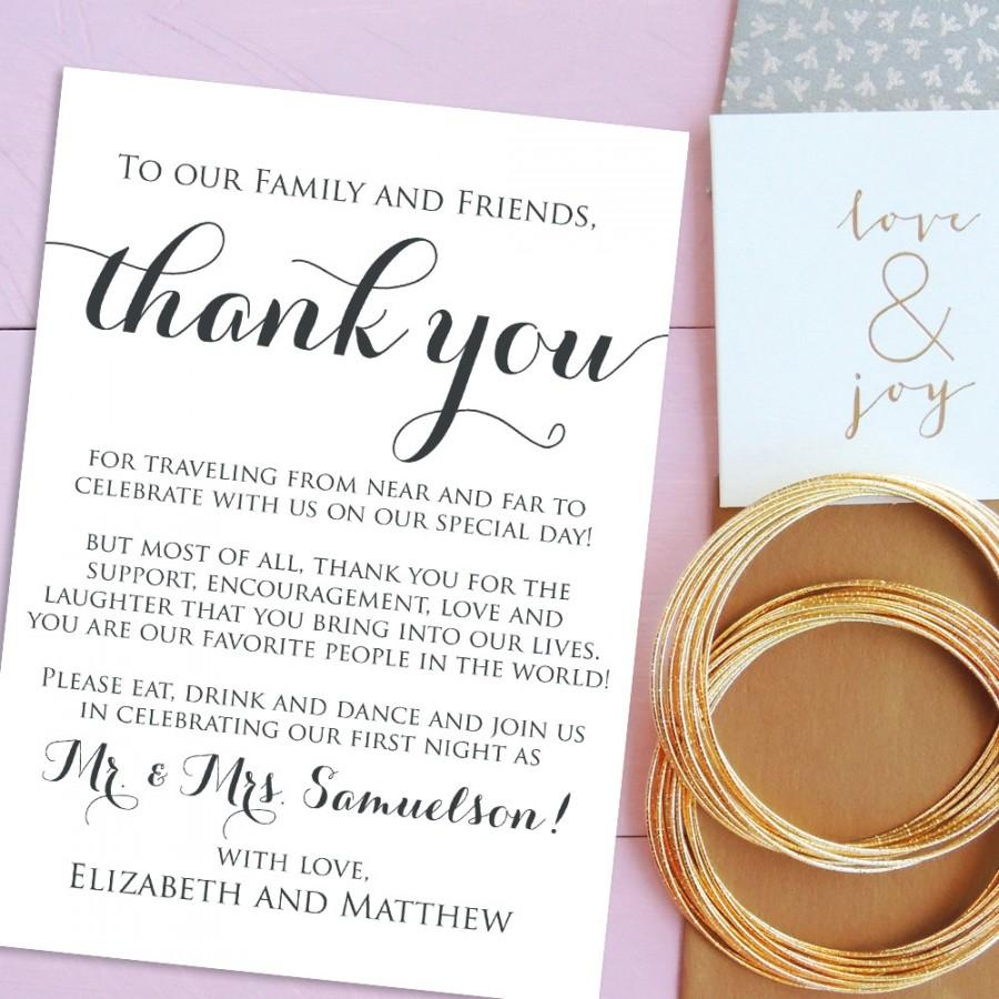 Wedding Thank You Cards, Welcome Letter Printable, Wedding Welcome ...