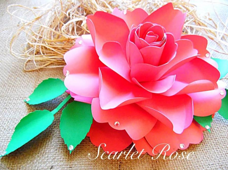 Diy Paper Rose Flower Templates And Svg Files Diy Large Paper