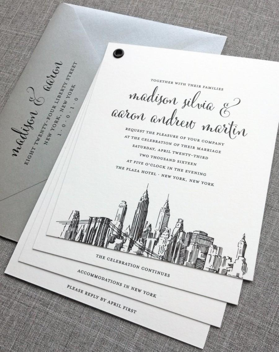 madison booklet new york skyline wedding invitation sample new york boston chicago dallas los angeles san francisco