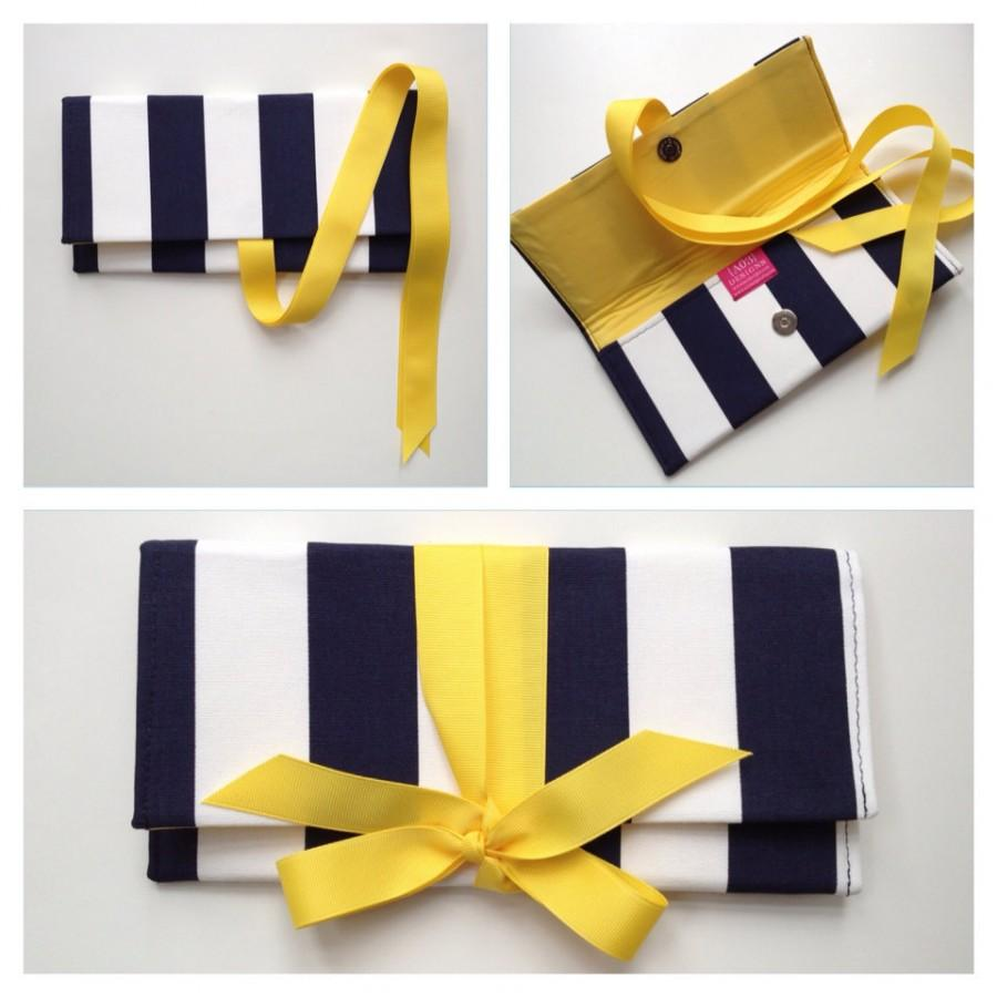 Mariage - Navy Clutch in canopy stripe with yellow bow. The ALEXIS Clutch.