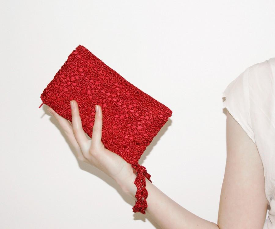 Red Crochet Purse Small Clutch Bag Formal Evening Wedding Bachelorette Party Gift Bridal
