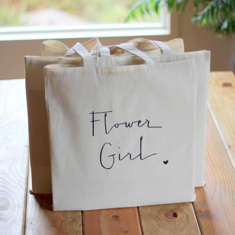 زفاف - Gift Bag for Flower Girl Tote Bag Handwritten Bridal Party