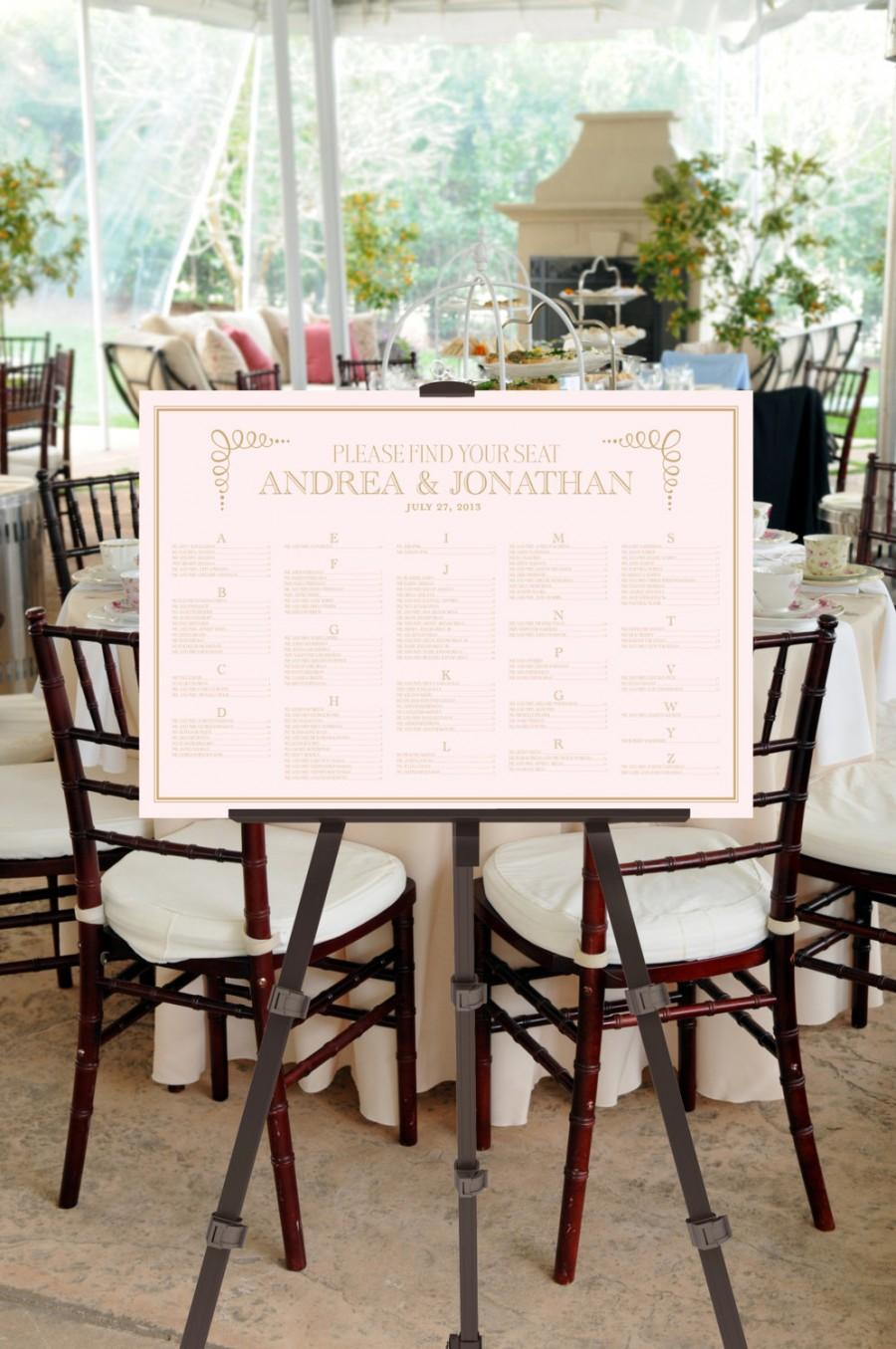 Mariage - Wedding Seating Chart Sign -- Printable Digital File -- Simple and Fun Fonts -- Event, Calligraphy, Script, Blush Pink, Gold, Ballet