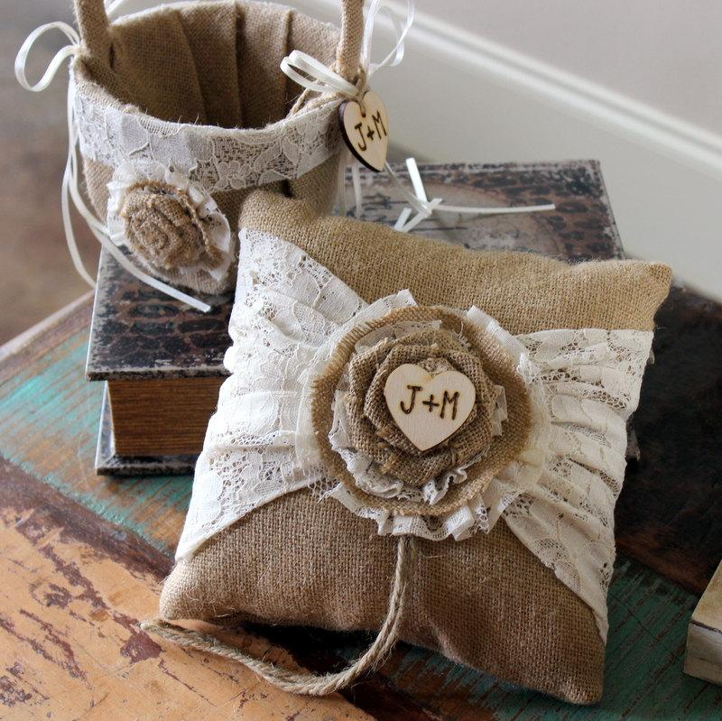 Flower Girl Basket And Ring Bearer Pillow SET BURLAP LACE Vintage Wedding Rustic Nautical Personalized