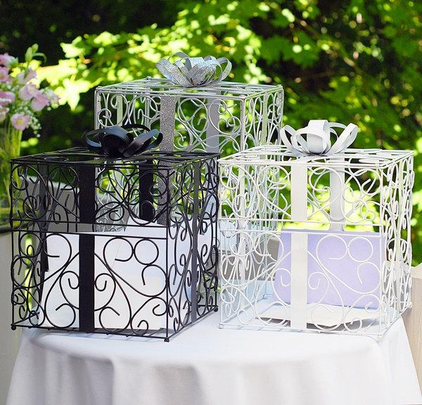 Wedding Reception Baby Bridal Shower Graduation Gift Card Holder Damask Scroll Present Money Box White Gold Black Silver
