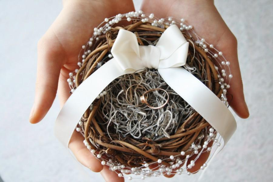 Ring Bearer Pillow Alternative Rustic Nest Ivory Box Wedding Woodland Holder Puck
