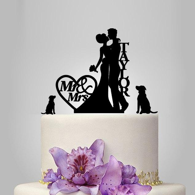 Mariage - personalized wedding cake topper, couple silhouette wedding cake topper with two dog and heart decor funny cake topper, acrylic topper