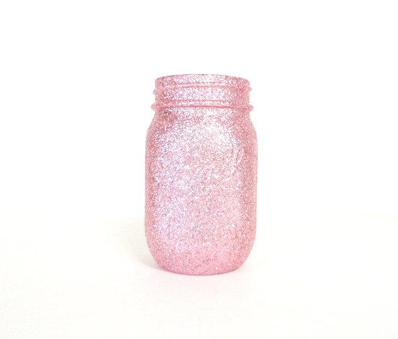 Свадьба - Light Pink Glittered Pint Mason Jar, Flower Vase, Wedding Decoration, Makeup Brush Holder, Pen and Pencil Holder, Bulk Discount Available
