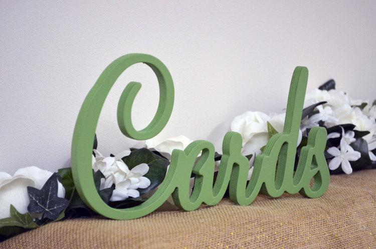 "Wedding - Cards Sign for Wedding Table - Freestanding ""Cards"" - Painted Wooden Wedding Sign for Reception Decorations (Style 012)"