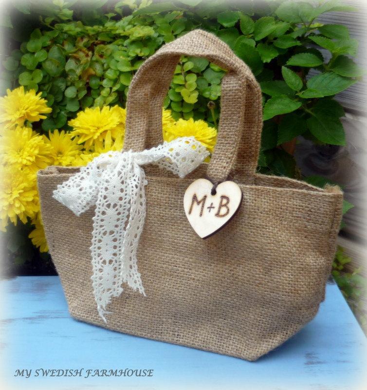 Свадьба - Burlap and Lace Bag Flower Girl Basket Rustic Wedding Decor Personalized Wood Heart Charm