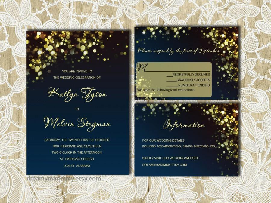 Gold Sparkles Navy Wedding Invitation Set DIY Digital Invitation