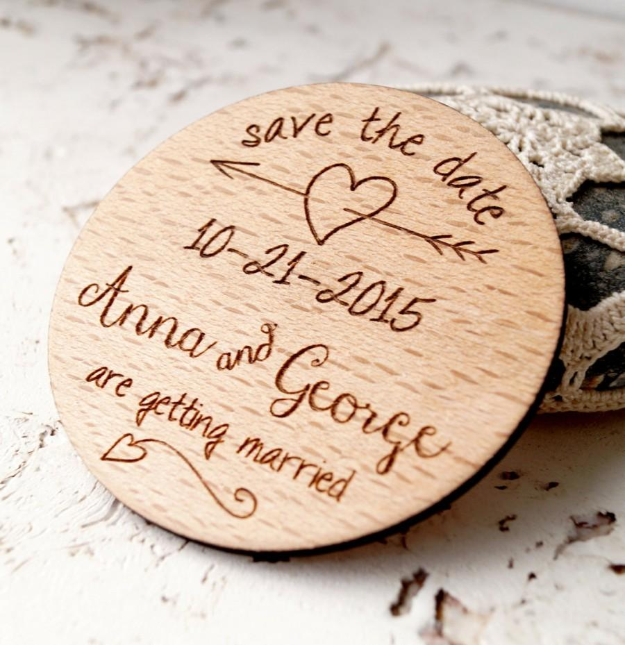 Wedding - Wooden Save the Date magnet, wedding magnets, personalized save the date magnets, wedding save the date, set of 25