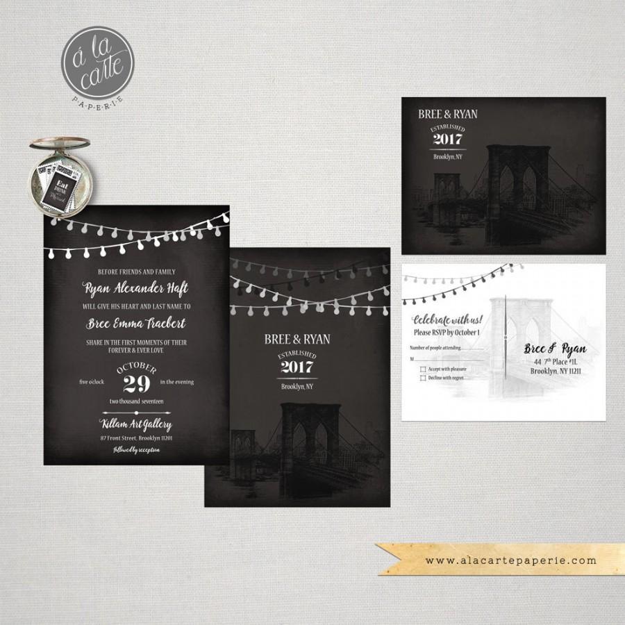 Brooklyn Bridge Chalkboard Inspired Wedding Invitation Card And RSVP ...
