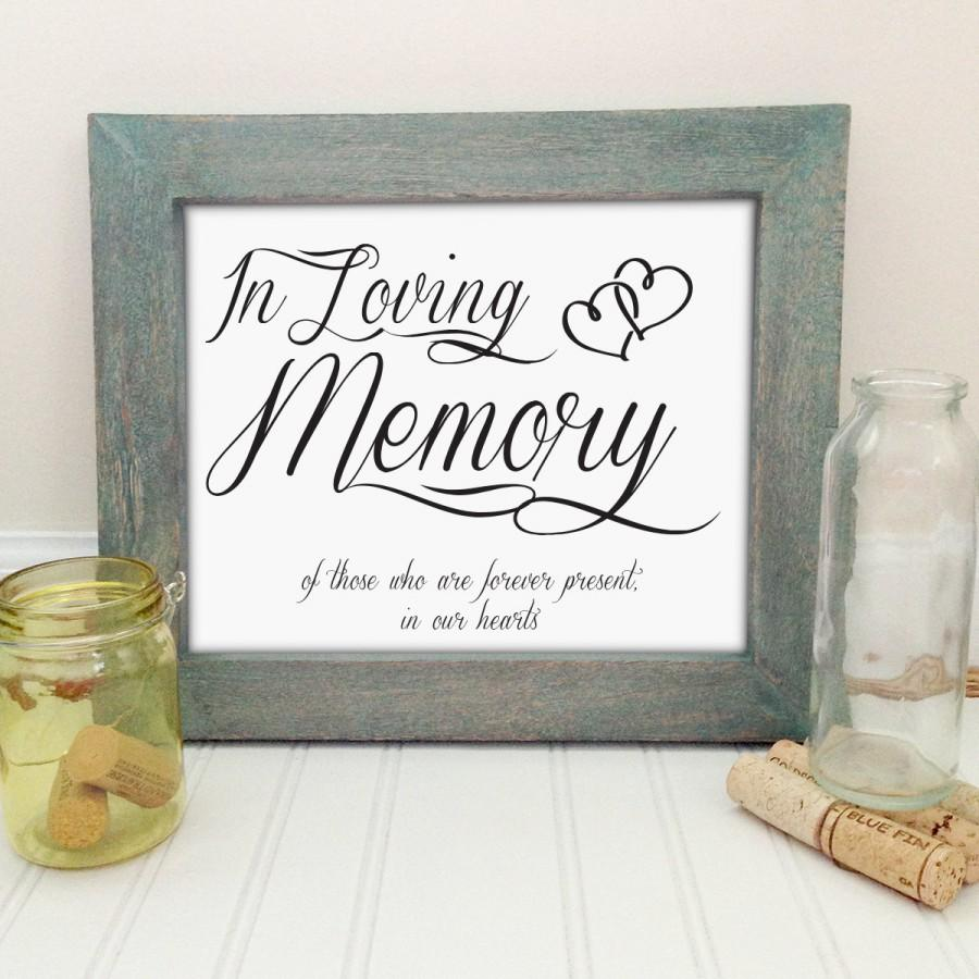 Printable In Loving Memory Wedding Sign Memorial Sign 8x10 Elegant Wedding