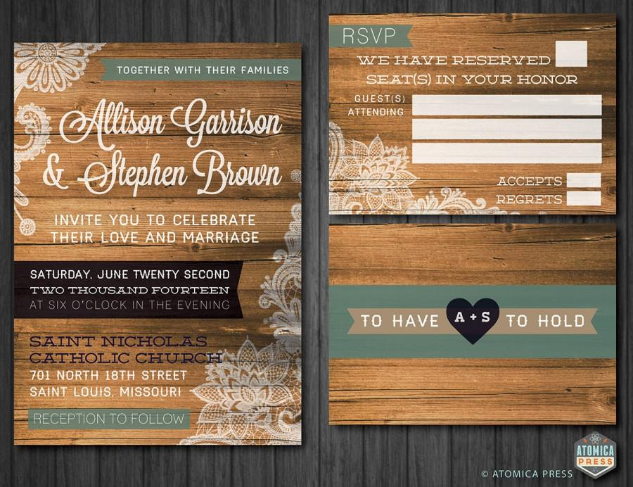 DIY Printable - Rustic Barn Wood Lace Wedding Invitation/RSVP Card ...