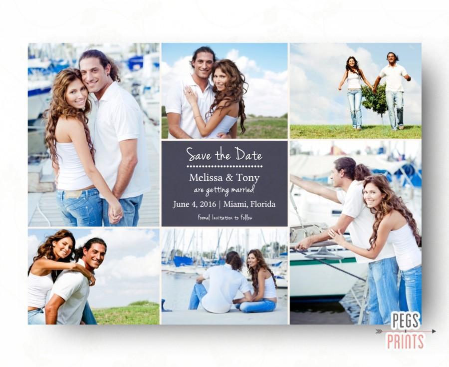 زفاف - Save the Date Photo Card - Save the Date Photo Collage (Printable) Save the Date Cards - Photo Save the Date - Picture Save the Date