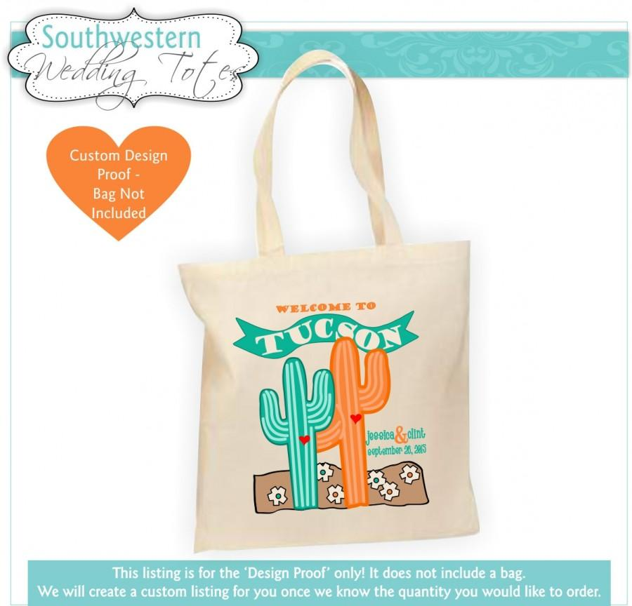 Mariage - Destination Wedding Bag, Western Wedding, Wedding Favor, Cactus Print, Customized Wedding Gift, Personalized Wedding Favor