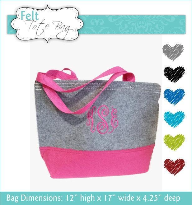 Mariage - 1 Felt Tote Bag, Monogrammed Tote Bag, Personalized Tote Bag, Grey Tote Bag, Felt Bag, Bridesmaid Tote Bag, Bridesmaid Gift, Shopping Bag