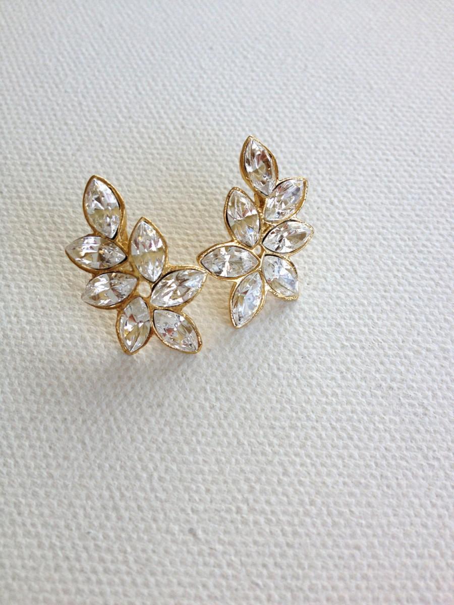 Swarovski Crystal Leaf Earrings Rhinestone Bridesmaid Gift Leaves Post Earring