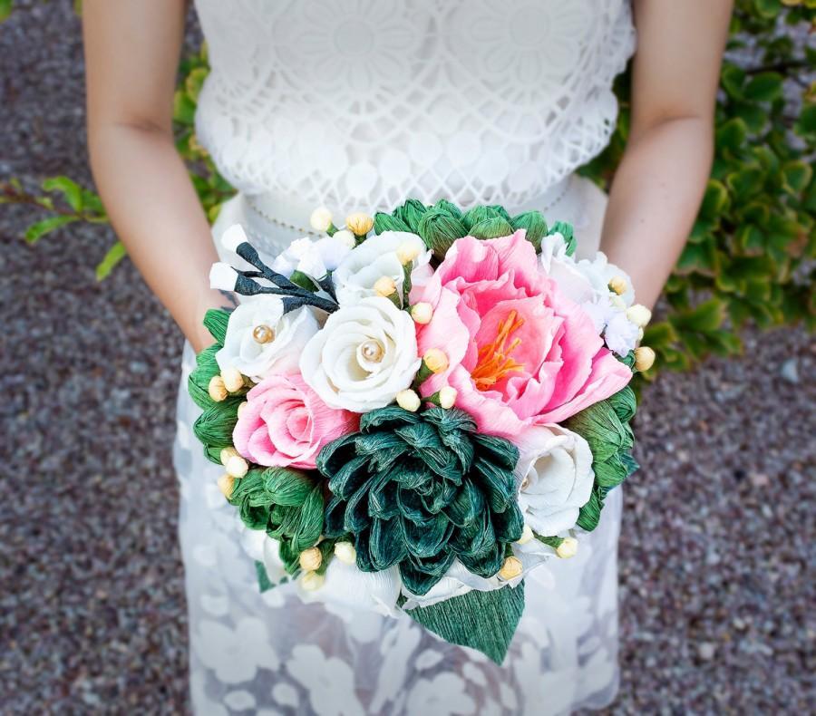 Handmade Crepe Paper Flower Bouquet, Paper Flower, Wedding Bouquet ...