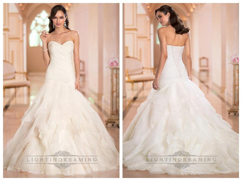 Wedding - Sweetheart Ruched Bodice Pleated Wedding Dresses with Corset Back