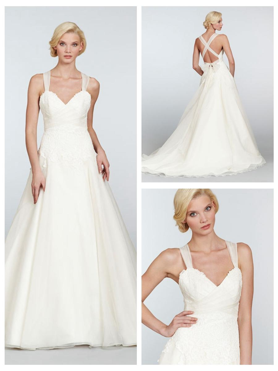 Wedding - Straps Dropped A-line Sweetheart Wedding Dress with Lace Embellished Bodice