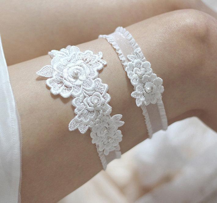 Mariage - Rose lace garter set, bridal garter set, pearl garter set, wedding garter set, lace garter set