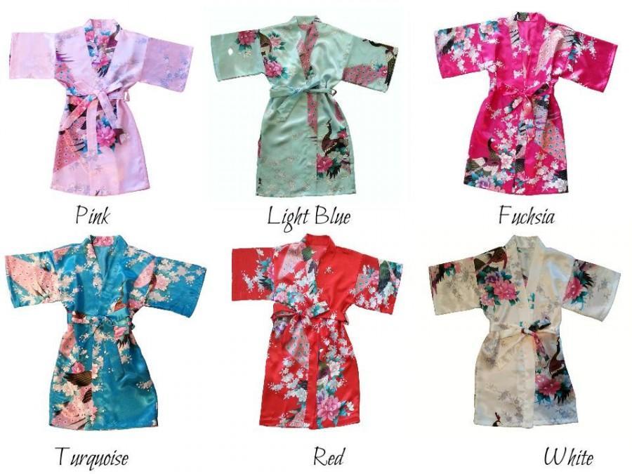 Mariage - K- Flower Girl/Junior Bridesmaid ROBES for Girls, Ready to Ship, Satin Floral/Peacock Robe,  Kimono Wrap Style Robe,