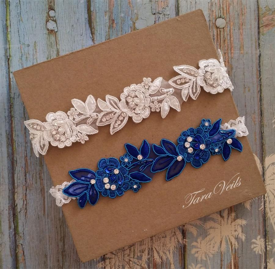 Wedding Garter Set,Bridal Garter Ivory,Ivory Royal Blue