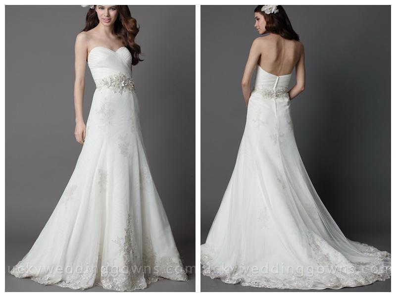 Wedding - White Strapless Chapel Train Wedding Dress with Full A-line Skirt