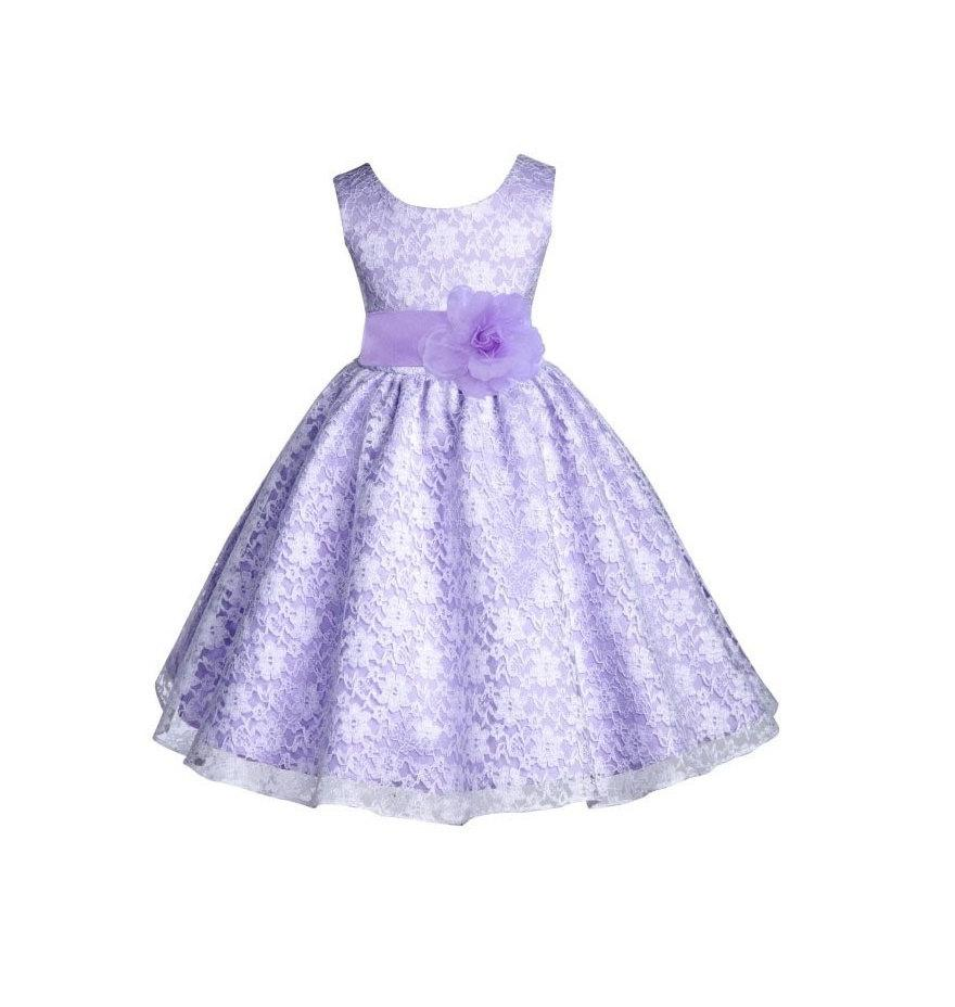 ef30062261ea Wedding Floral Lace Overlay lilac purple flower girl dress toddler baby  dancing gown bridesmaid toddler size 6-9m 12-18m 2 4 6 8 10 12