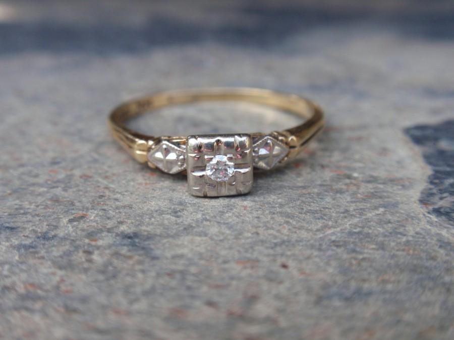 Mariage - Art Deco Diamond Engagement Keepsake 14k Ring gold two tone Ladies 1940s FREE US Shipping until Mother's Day!