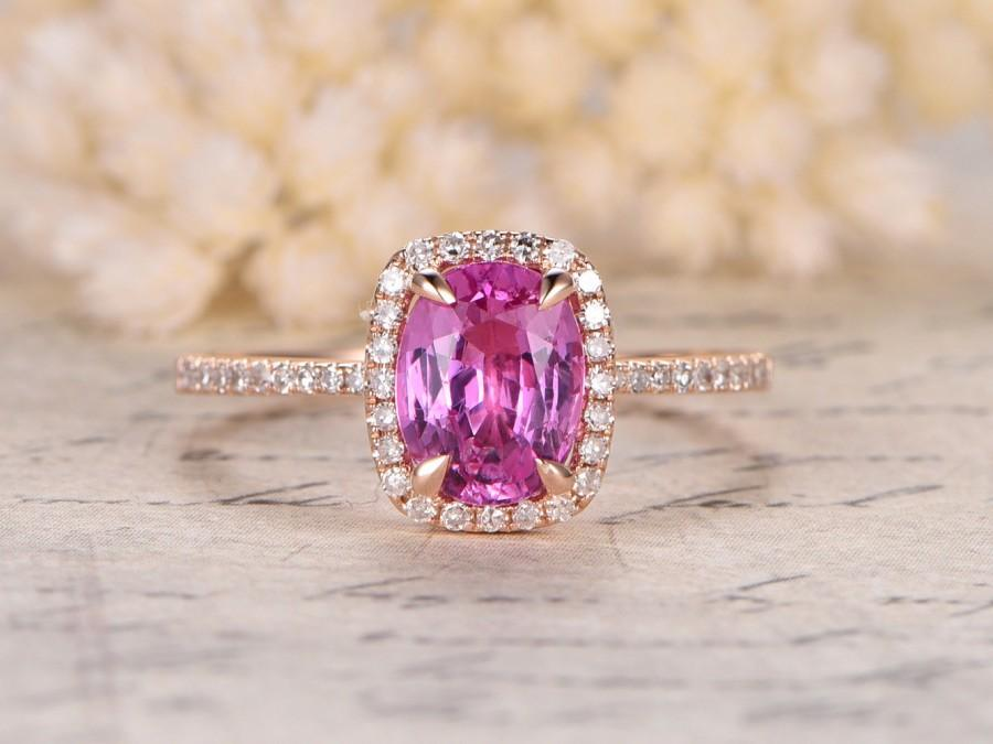 Свадьба - Pink Sapphire Engagement Ring,6x8mm Oval Cut Stone,Cushion Halo,14K Rose Gold,Diamond Wedding Band,Pink Engagement Ring,Morganite Available