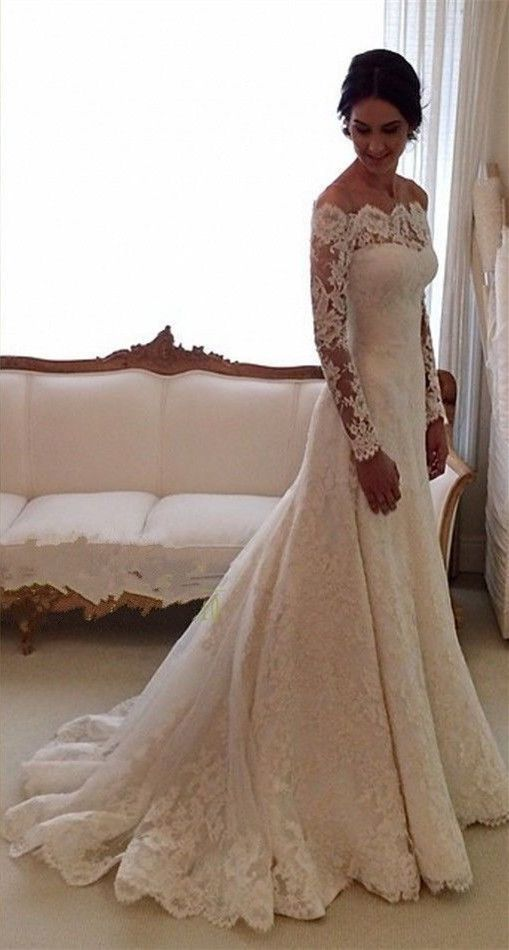 Elegant Lace Wedding White Ivory Off The Shoulder Garden Bride Gown 2017
