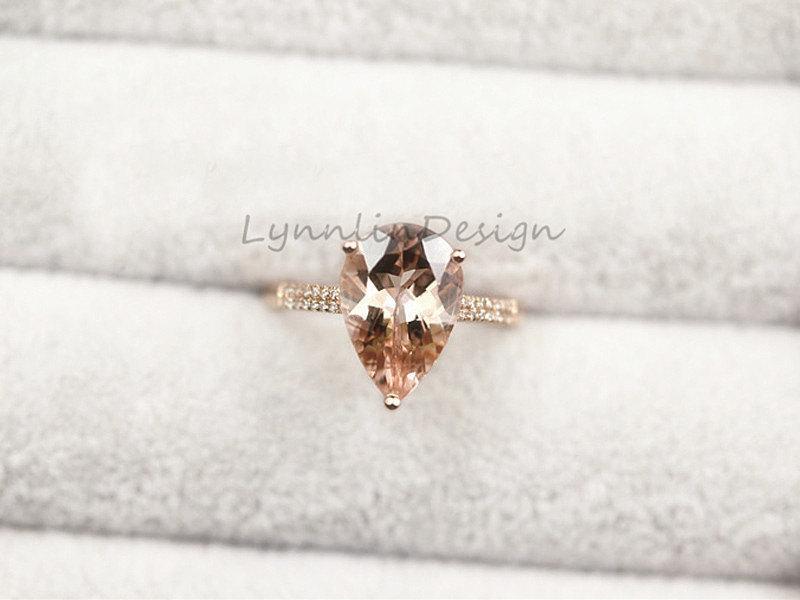 Wedding - 14K Rose Gold Ring 2.1ct Pear Shaped Morganite Engagement Ring Stacking diamond Morganite Jewel Morganite Engagement Ring Morganite Jewelry