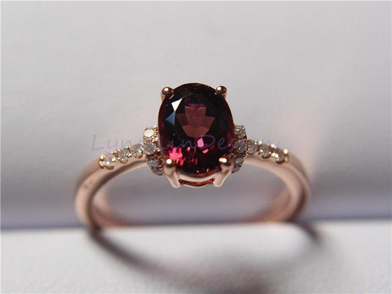 14K Rose Gold Ring 6x8mm Oval Tourmaline Engagement Ring Birthstone